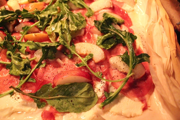 Nectarines and arugula on filo dough
